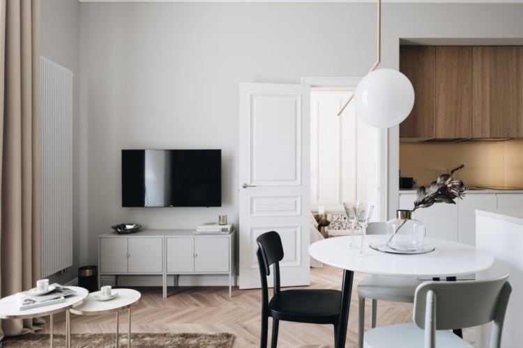 Минималистичная классика в квартире 40м², Санкт-Петербург